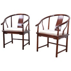 Michael Taylor for Baker Hollywood Regency Walnut Horseshoe Lounge Chairs, Pair