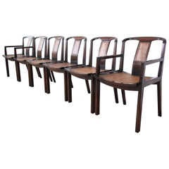 Michael Taylor for Baker Midcentury Walnut and Cane Dining Chairs, Set of Six