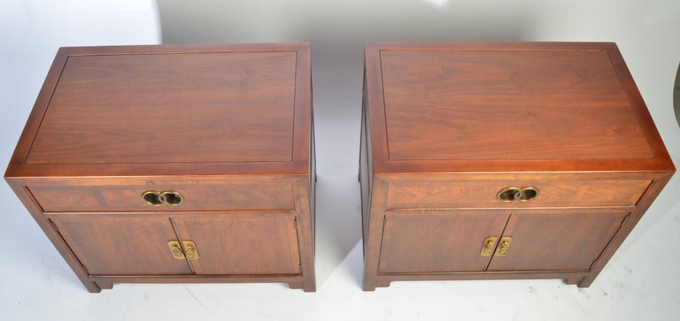 Mid-Century Modern Michael Taylor for Baker Nightstands-Far East Collection, circa 1955 For Sale