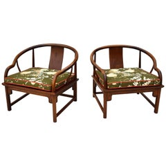 Michael Taylor for Baker Style Ming Lounge Chairs in Brunschwig & Fils Linen