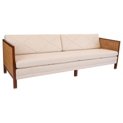 Michael Taylor for Baker Walnut Wicker and Upholstered Sofa