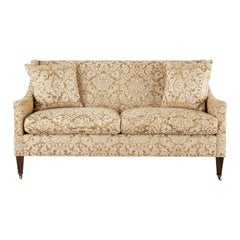 Michael Taylor Settee with Fortuny Glicine Style Upholstery