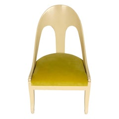 Michael Taylor Style Painted Chair with Chartreuse Velvet