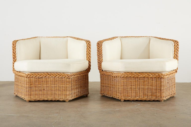 Hand-Crafted Michael Taylor Style Rattan Modular Seating Sofa Set For Sale