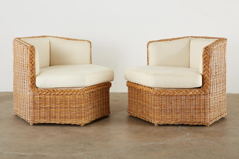 20th Century Michael Taylor Style Rattan Modular Seating Sofa Set For Sale