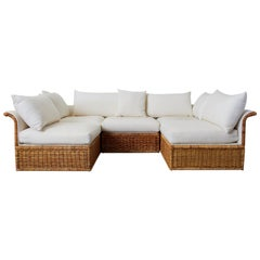 Michael Taylor Style Rattan Wicker Sectional Sofa