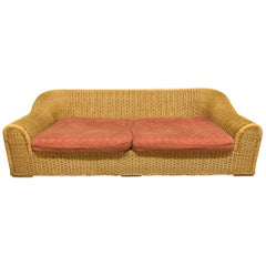 Michael Taylor Style Sculptural Wicker Sofa