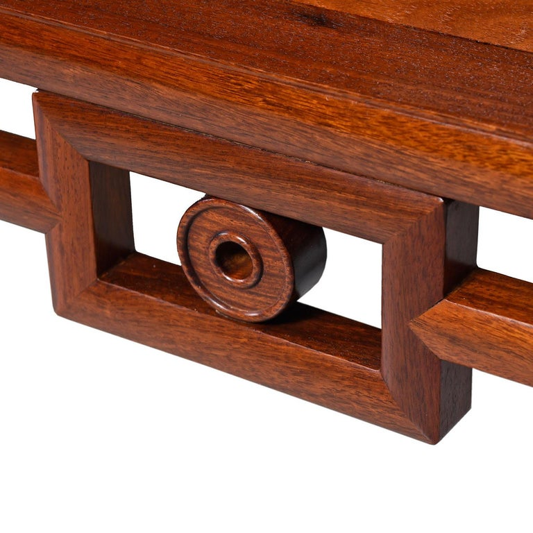 Michael Taylor Style Solid Red Mahogany Asian Modern Coffee Table In Excellent Condition In Saint Petersburg, FL
