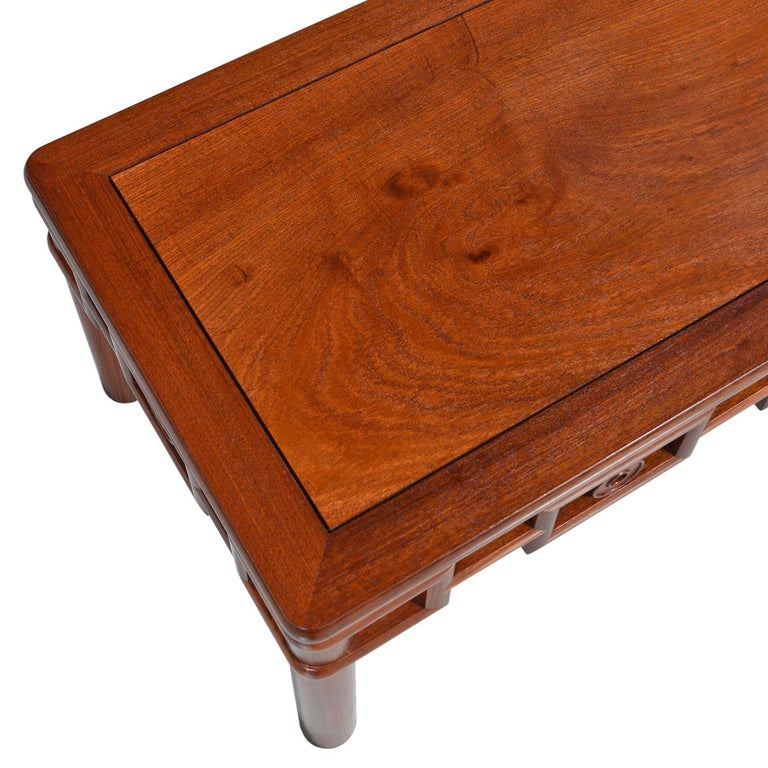 Mid-20th Century Michael Taylor Style Solid Red Mahogany Asian Modern Coffee Table
