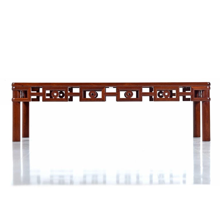 Mid-Century Modern Michael Taylor Style Solid Red Mahogany Asian Modern Coffee Table