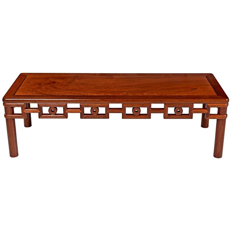 Minimalism reigns on this Michael Taylor inspired vintage 1950s Asian coffee table. This table tows the line between chinoiserie and Asian Modern. Like Michael Taylor's Classic design's for Baker, this table is both distinctively Eastern but
