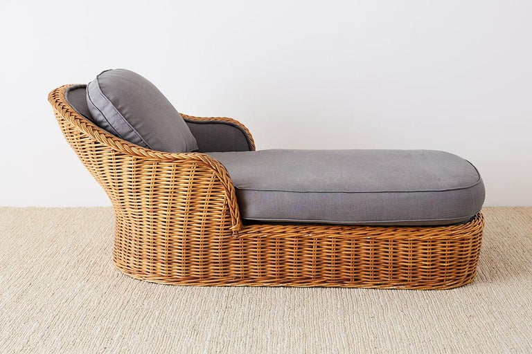 Michael Taylor Style Wicker Chaise Lounge For Sale 2