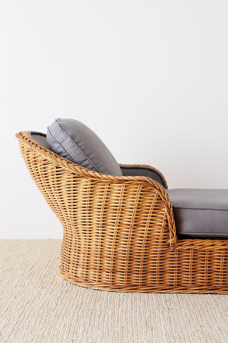 Michael Taylor Style Wicker Chaise Lounge For Sale 3