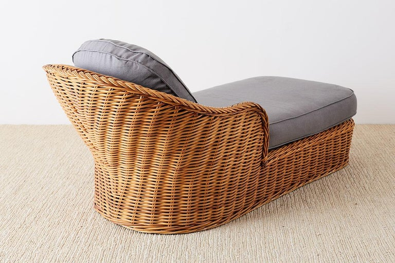 Michael Taylor Style Wicker Chaise Lounge For Sale at 1stdibs