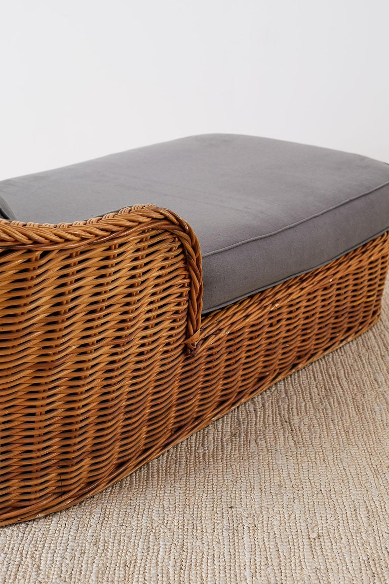 Michael Taylor Style Wicker Chaise Lounge For Sale 7