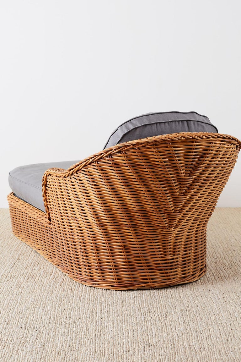 Michael Taylor Style Wicker Chaise Lounge For Sale 8