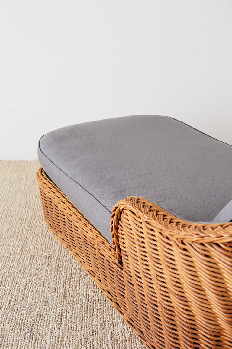 Michael Taylor Style Wicker Chaise Lounge For Sale 9