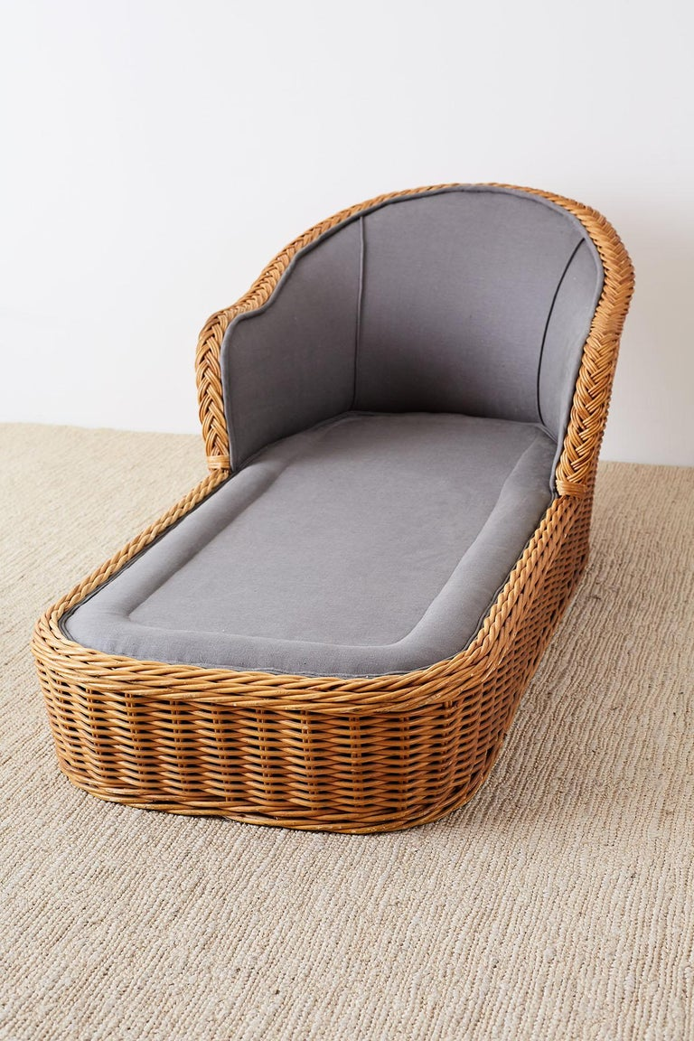 Michael Taylor Style Wicker Chaise Lounge For Sale 10
