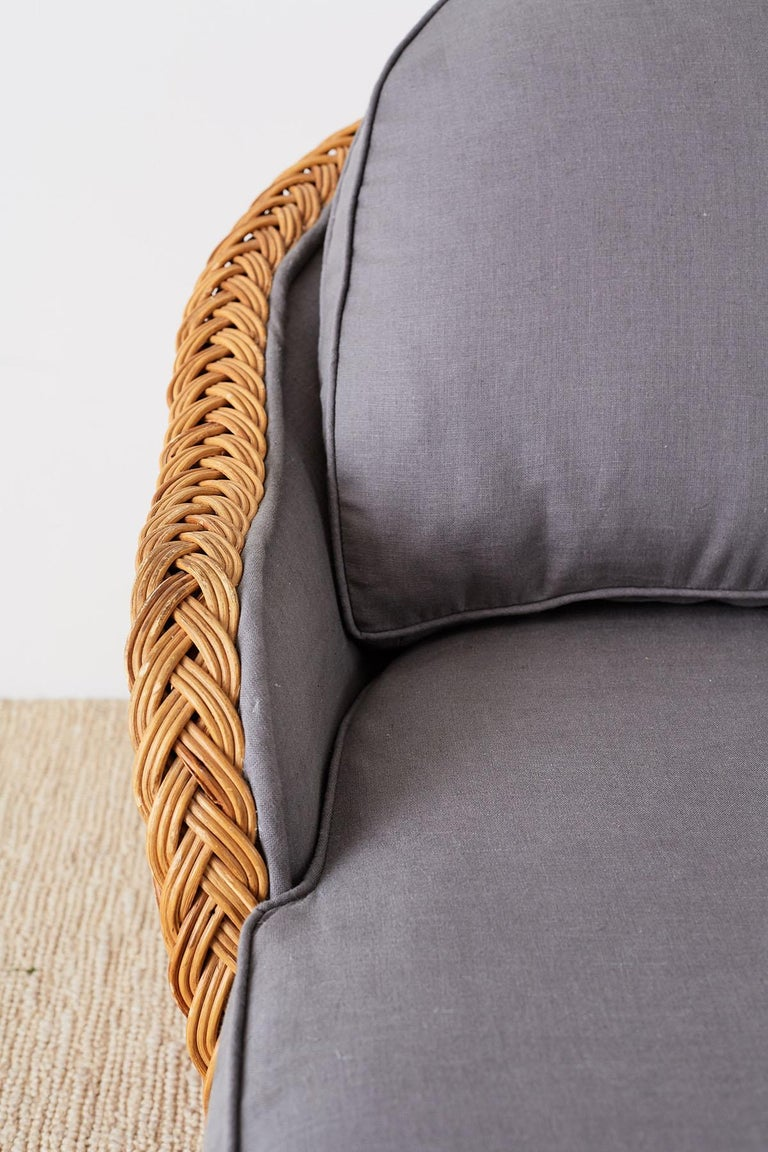 Michael Taylor Style Wicker Chaise Lounge For Sale 12