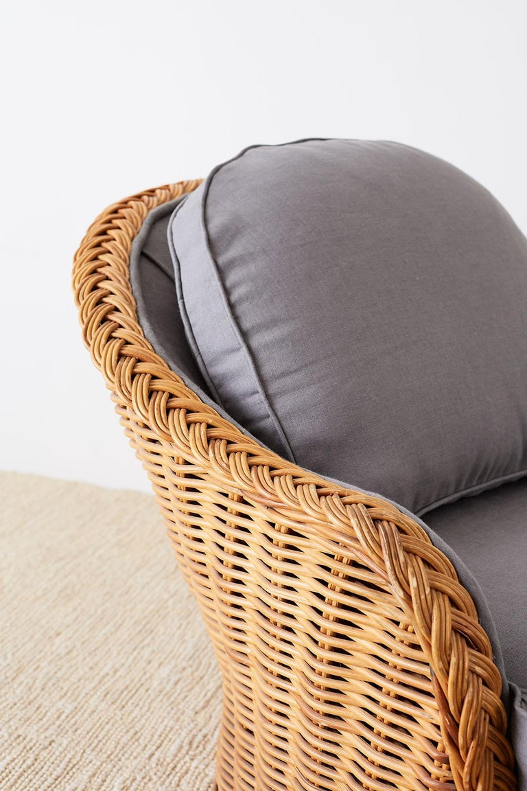 Hand-Crafted Michael Taylor Style Wicker Chaise Lounge For Sale