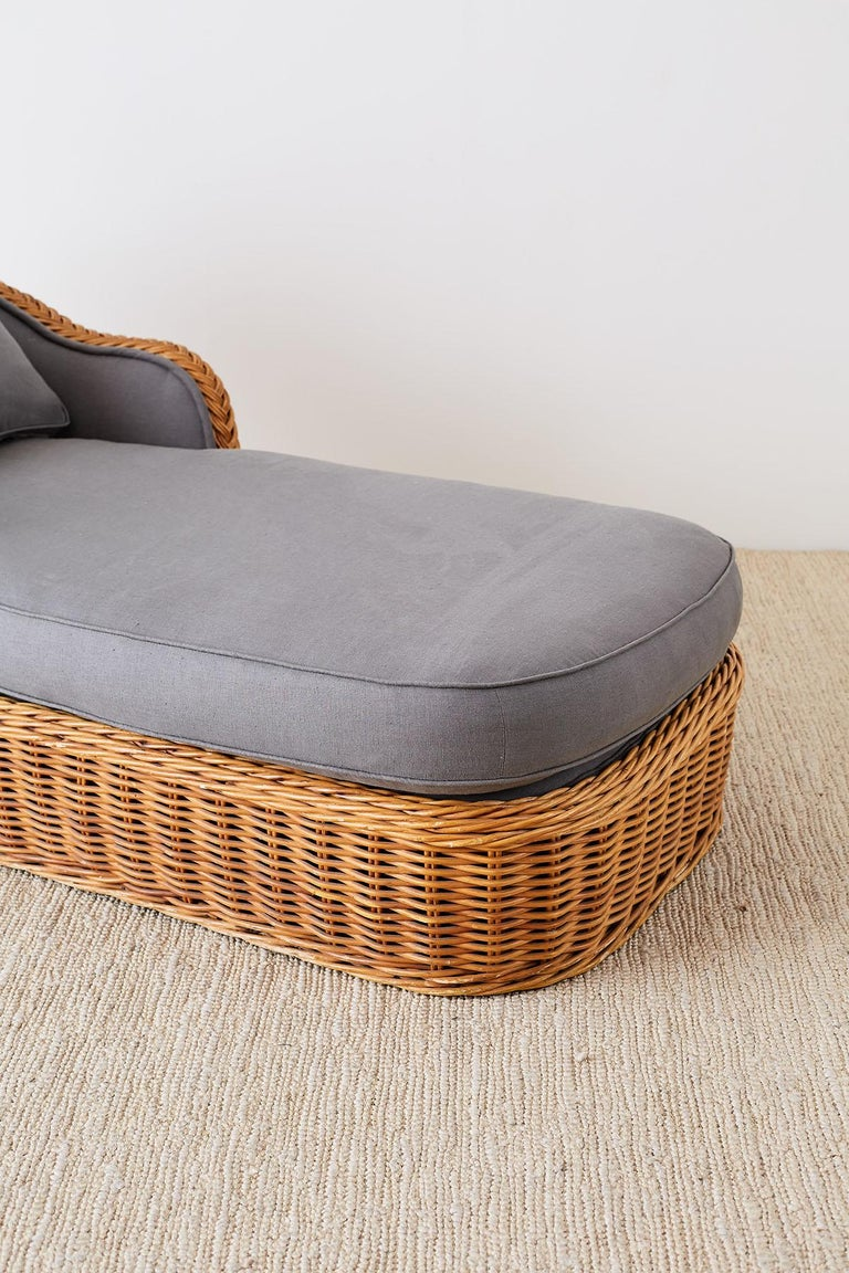 20th Century Michael Taylor Style Wicker Chaise Lounge For Sale