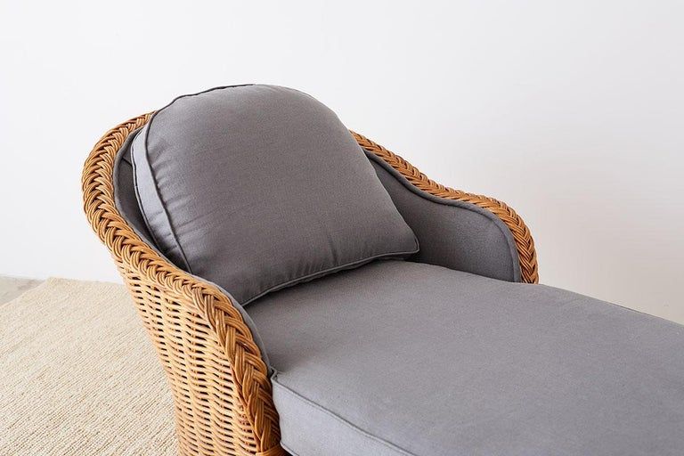 Linen Michael Taylor Style Wicker Chaise Lounge For Sale