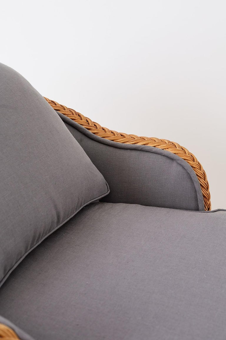 Michael Taylor Style Wicker Chaise Lounge For Sale 1