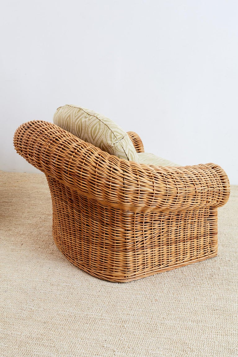 Michael Taylor Style Wicker Lounge Chairs and Ottomans For Sale 3