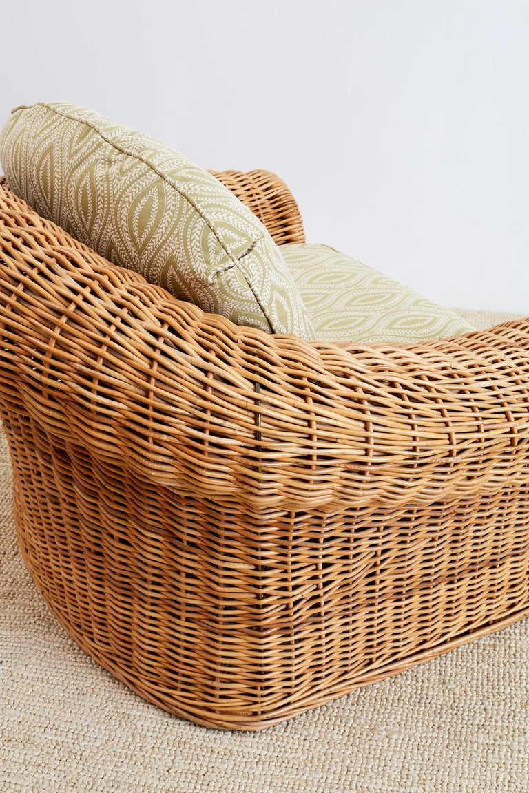 Michael Taylor Style Wicker Lounge Chairs and Ottomans For Sale 4