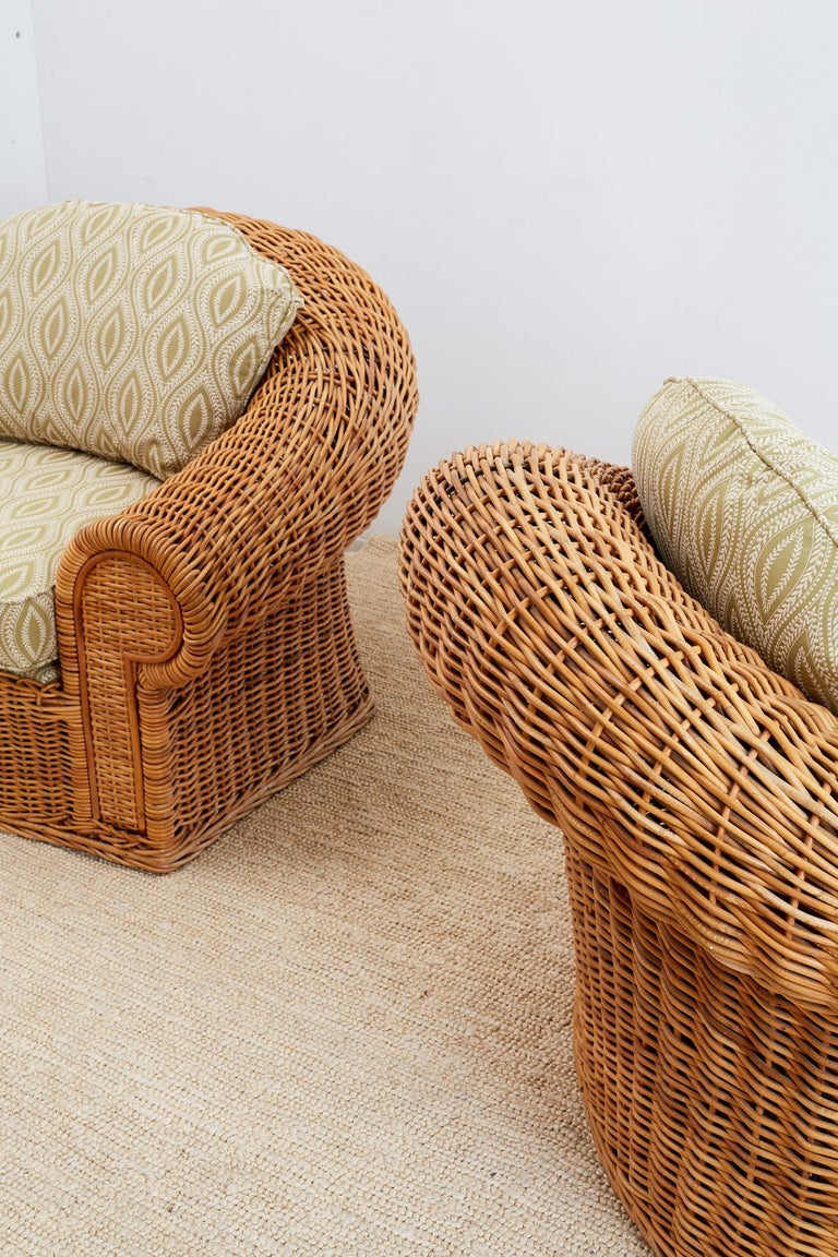Michael Taylor Style Wicker Lounge Chairs and Ottomans For ...