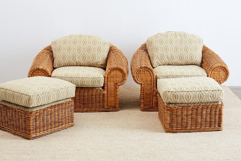 Organic Modern Michael Taylor Style Wicker Lounge Chairs and Ottomans For Sale