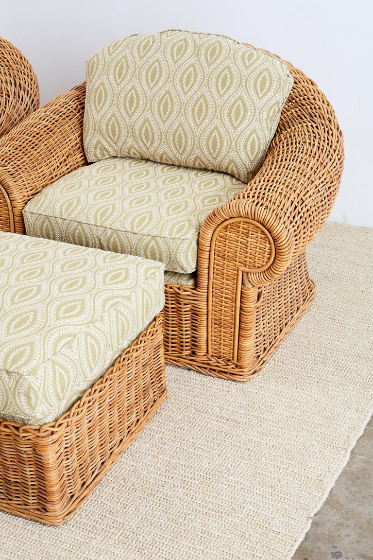 Michael Taylor Style Wicker Lounge Chairs And Ottomans For