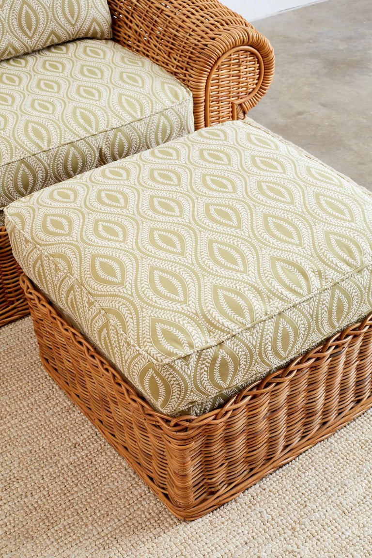 Michael Taylor Style Wicker Lounge Chairs and Ottomans In Excellent Condition For Sale In Oakland, CA