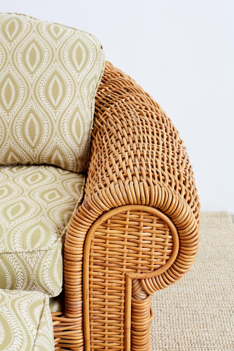 20th Century Michael Taylor Style Wicker Lounge Chairs and Ottomans For Sale