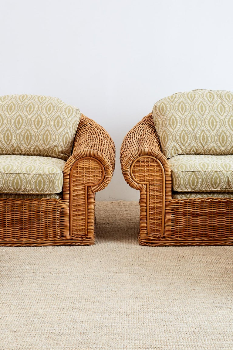Michael Taylor Style Wicker Lounge Chairs and Ottomans For Sale 1