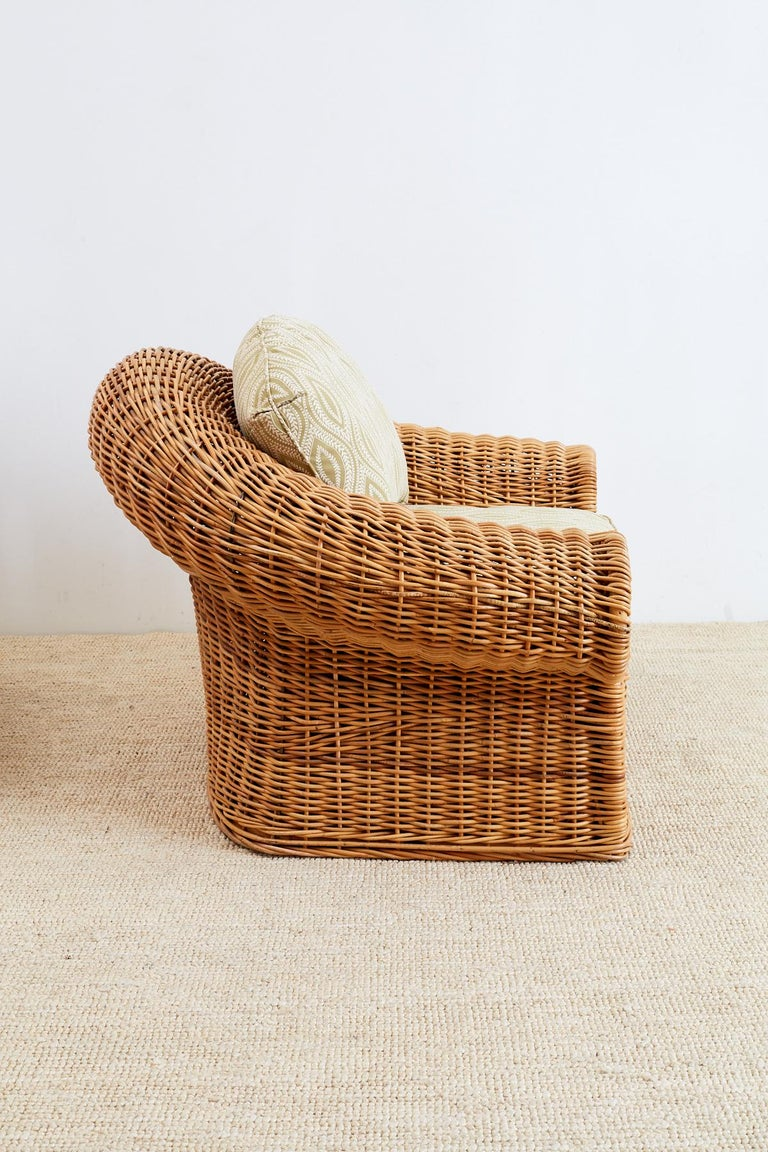Michael Taylor Style Wicker Lounge Chairs and Ottomans For Sale 2