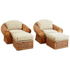 Michael Taylor Style Wicker Lounge Chairs and Ottomans