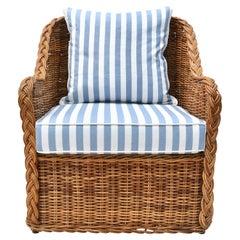 Michael Taylor Wicker Rattan Arm Chair