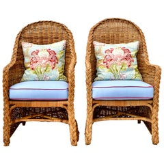 Michael Taylor Wicker Rattan Arm Chairs, Pair