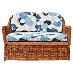 Michael Taylor Wicker Rattan Loveseat Settee