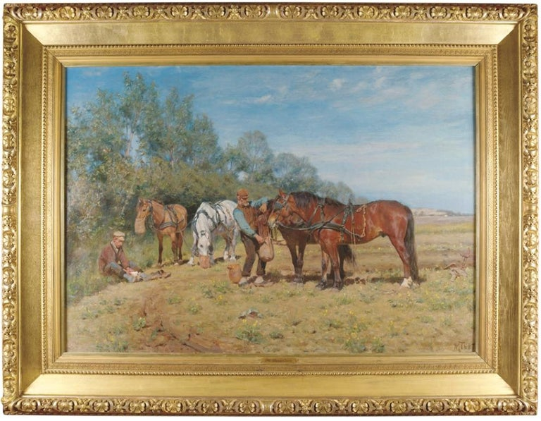 Ploughmen and their Horses, oil on canvas Monogrammed M.TH and dated 1887 - Painting by Michael Therkildsen