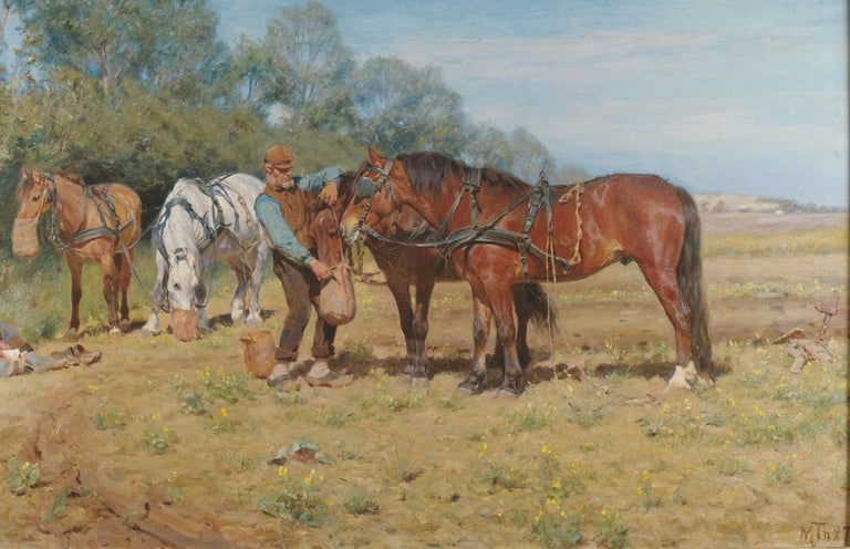 Ploughmen and their Horses, oil on canvas Monogrammed M.TH and dated 1887 - Barbizon School Painting by Michael Therkildsen