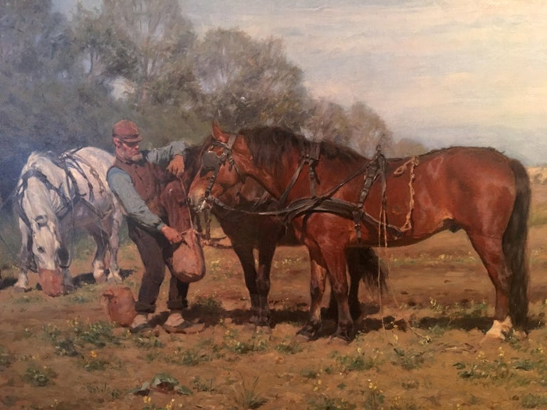 """The ploughed horses break""  Oil on canvas signed Michael Therkildsen, dated 1887. Monogrammed bottom right M TH and dated 1887.  Danish school Exhibited at the universal exhibition in Paris on 1889, under number 158 (see photo) Won silver"