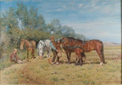 Ploughmen and their Horses, oil on canvas Monogrammed M.TH and dated 1887
