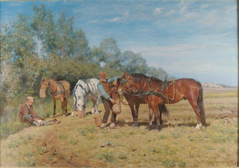 Michael Therkildsen Animal Painting - Ploughmen and their Horses, oil on canvas Monogrammed M.TH and dated 1887