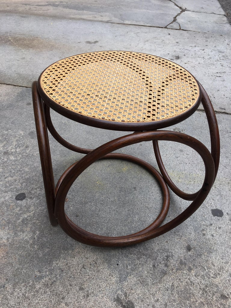 Mid-Century Modern Michael Thonet Caned Ottoman For Sale