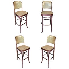 Michael Thonet Number 811 Bentwood Bar Stool w/ Wicker Seat, Set of Four
