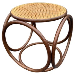 Michael Thonet Stool Ottoman, Side Table Cane and Bentwood Brown