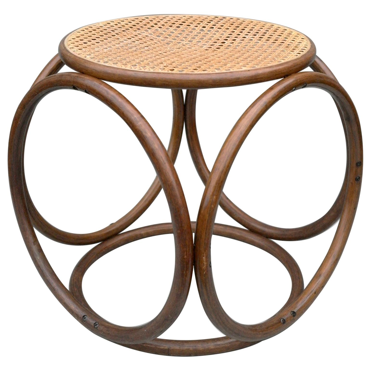 Michael Thonet Stool Side Table in Cane and Bentwood, Austria, 1960s