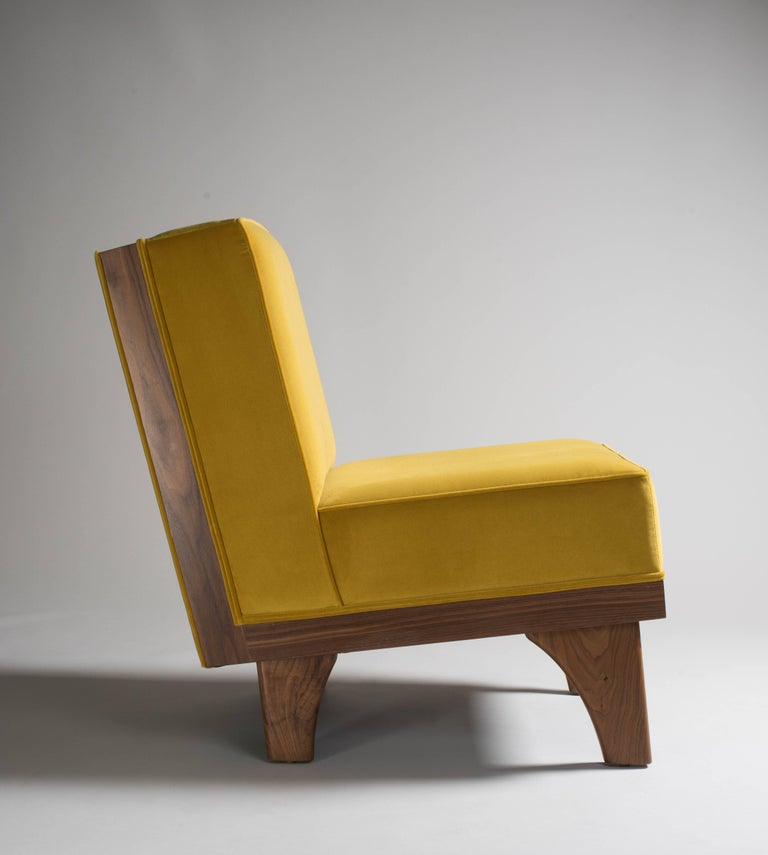 Mid-Century Modern Line Lounge Chair in Walnut and Yellow Velvet Upholstery by Luteca For Sale